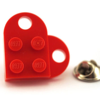 Red love heart Tie Pin made with LEGO® bricks, Tie Tack Pin, Men's Tie Tacks, Tie Tac, Silver Tie Clip, Tie Clips Men, Wedding Clip, Tack