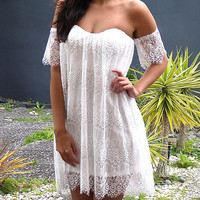White Strapless Floral Lace Prom Dress