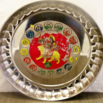 Vintage Shabby Painted Metal Hindu Tray