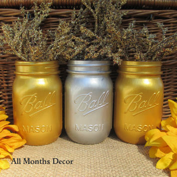 Set of 3 Gold & Silver Painted Mason Jars, Pint, Vase, Three Holiday Home Christmas Wedding Bridal, Rustic Shabby Chic, Winter Gifts Dorm