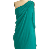 ModCloth Mid-length One Shoulder Sheath Teal It In Dress