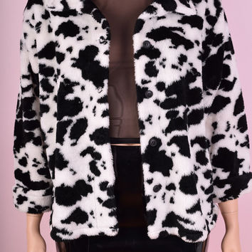 ON SALE 90s Cow Print Plush Jacket