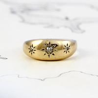 Victorian Diamond Gypsy Ring, Antique 18k Yellow Gold Band, Engraved Star Old Mine Cut Diamond Dome Motif, Bohemian Engagement Wedding Ring