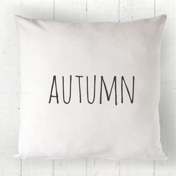 Autumn Pillow Cover - Fall Pillow, Fall Decor, White Pillow, Farmhouse Pillow, Cottage Decor, 16 x 16, 18 x 18, 20 x 20