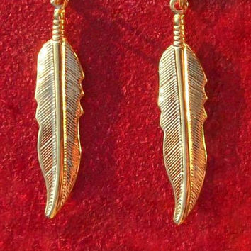 GOLD FEATHER EARRINGS - Larger size