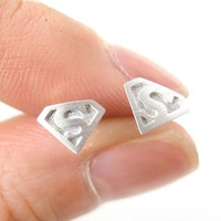 Superman Symbol Super Hero Logo Stud Earrings in Silver | Allergy Free