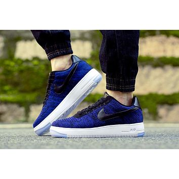 Originals Nike Air Force One 1 Flyknit Low Blue / Black / White Running Sport Casual S