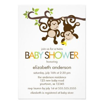 Monkeys and Polka Dots Twins Baby Shower Invite from Zazzle.com