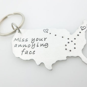 Long distance family, USA Map, long distance relationship, Miss your Annoying Face, gift for boyfriend, living apart, going away gift, ldr