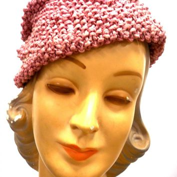 Vintage Ladies Knit Hat Dusty Rose Pink w/ PomPom Metallic Hand-Knit 1940S