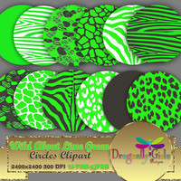 "80% OFF Sale WILD About Lime Green 8"" Clip Art, commercial use, digital scrapbook papers, vector graphics, printable, Instant Download"
