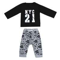 2 Pcs Baby Boy Sweat Shirt and Panda Print Pants