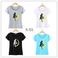 S-XL 11 Colors Sailor Moon in Moon T-shirt SP152243