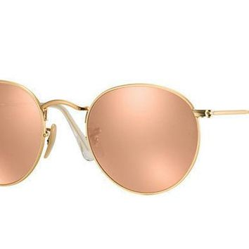 Ray Ban Round Sunglass Matte Gold Pink Mirrored Rb 3447 112/z2 | Best Deal Online