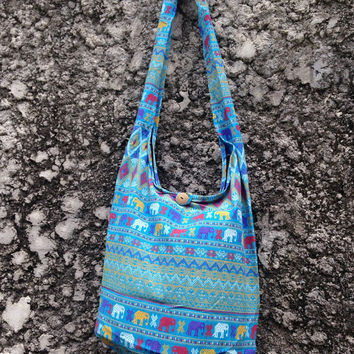 Crossbody Shoulder Bags Boho Sling Hippies Ikat Aztec Tribal elephant printe Styles Fashion Chic Hobo Yam Diaper Tote Bohemian Messager blue