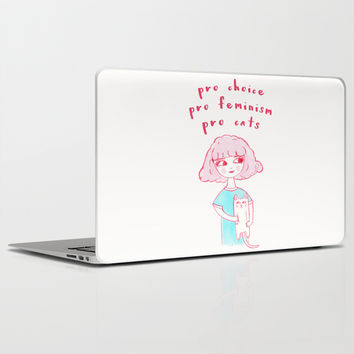 Pro-Choice, Pro-Feminism, Pro-Cats! Laptop & iPad Skin by Laurel Mae