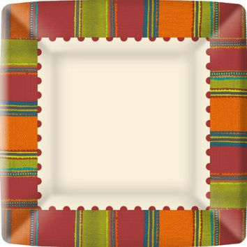 Ideal Home Range 8 Count Boston International Square Paper Dinner Plates, Red Habanera