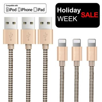 OTISA 3Pack 5Ft Nylon Braided Lightning Cable with Ultra-compact Connector Charging Cord Charger for iPhone 7/7 Plus/6s/6s Plus/6/6 Plus/5s/55se, iPad,iPod Compatible with iOS10
