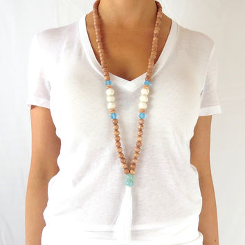 Boho Tassel Necklace - Sky Blue with White Tassel