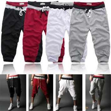 Men's Casual Baggy Jogger Trousers Crop Shorts Sports Pants Harem Training Dance