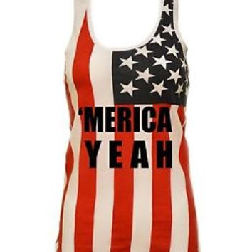 Women's USA Flag Racer Back Tank Top Merica Yeah 4th of july Tops Independence