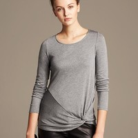 Banana Republic Womens Side Knot Tee Size L - Medium heather grey