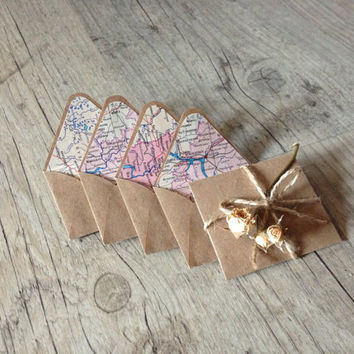 Set of 5 crafted small envelopes with cards for your note - writing paper - beige brown rustic light pink - vintage map - europeanstreetteam