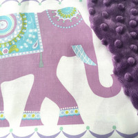 Elephant Baby Blanket, Baby Girl Crib Bedding, Lilac and Blue, Boho Style Blanket