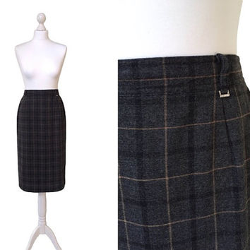 Vintage Pencil Skirt - 1980s 80s - Vintage Skirt -  Grey Check Slim Skirt