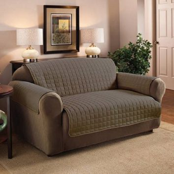 Quality Polyester Microfiber Quilted Furniture Protector/ Loveseat/Sofa,Taupe