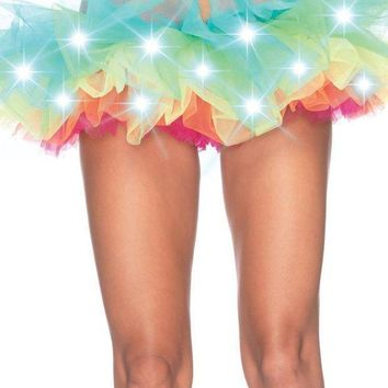 Led Light Up Rainbow Neon Tutu In Multicolor