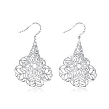 Sterling Silver Filligree Tree Branch Drop Earring