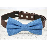 Blue Denim dog bow tie, Blue Wedding, something blue, Dog birthday