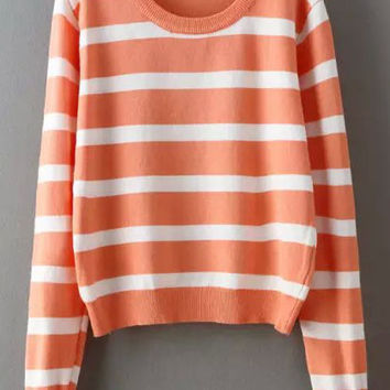 Orange White Long Sleeve Striped Cropped Sweater