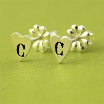 Heart Initial Stud Earrings - Spiffing Jewelry