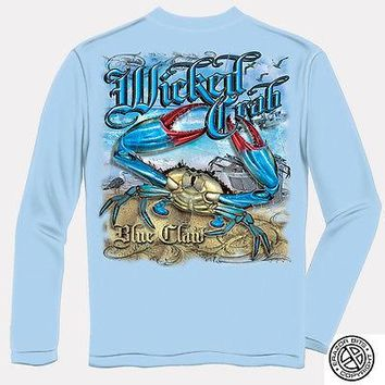 New MARYLAND CRAB BLUE CLAW LONG SLEEVE T SHIRT