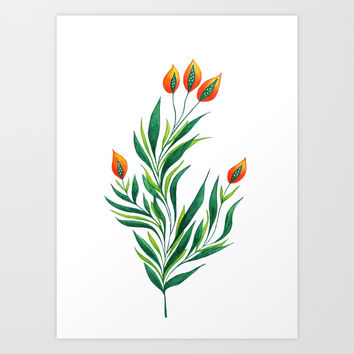 Abstract Green Plant With Orange Buds Art Print by borianagiormova