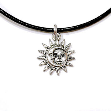 Sun Moon Face Celestial Sol Luna Choker Necklace