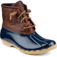 Women's Saltwater Duck Boot in Tan/Navy by Sperry