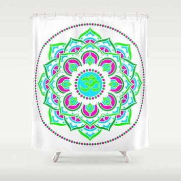 Spring Mandala | Flower Mandhala Shower Curtain by Azima