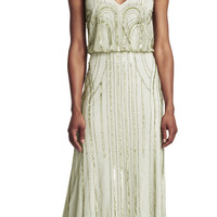 Sleeveless Blouson Gown with Art Nouveau Beading - Adrianna Papell
