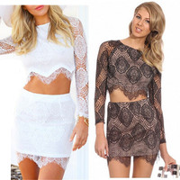 Womens Two Piece Sets 2015 Women 2 Piece Bodycon Dress Party White Lace Dress 2 Piece vestido de festa Hallow Out Dresses 2635