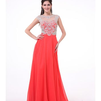 Coral Embellished Bodice Cap Sleeve Dress 2015 Prom Dresses