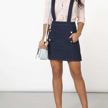 Indigo Denim Skirt With Braces - View All New In - New In