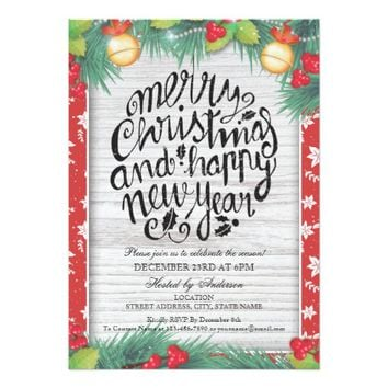 Botanical Merry Christmas and Happy New Year Party Card