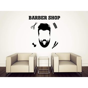 Vinyl Wall Sticker Barber Shop Haircuts for Men Barber Hairdresser Beauty Salon Hair Decor Unique Gift (n677)