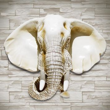 Elephant Head Hanging The Living Room Wall Decor Background Walls Decorated Ornaments Animal Pendant garden decoration sculpture