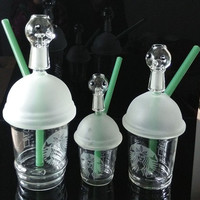NEW Starbuck Cup glass bongs water pipe Original Opaque Bright green dab concentrate oil rigs glass bongs glass dome and nail Hookah