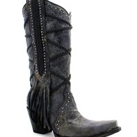 Corral Black-Grey Braiding & Fringe Boots