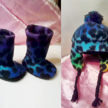 """American Girl Doll Clothing Hat and Boot Set AG Doll Winter Accessories AG Doll Fleece Hat 18""""Doll Boots 18""""Doll Accessories Doll Hat/Boots"""